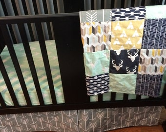 Custom Crib Bedding Set, Made to Order, Woodland set, navy, mint, mustard yellow