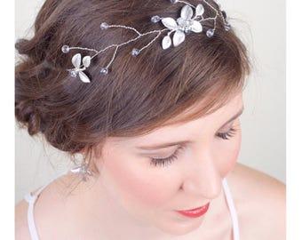 Boho Bridal Silver Hair Vine, Crystals, Pearls, Silver Bridal Hair, Sash Belt, Silver Bridal Crown, Silver Wedding, Headpiece 5(S)