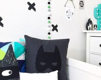 BATMASK WOOL BATMAN Cushion Pillow Kids Boys Room Superhero Kids Interiors Nursery Baby Shower