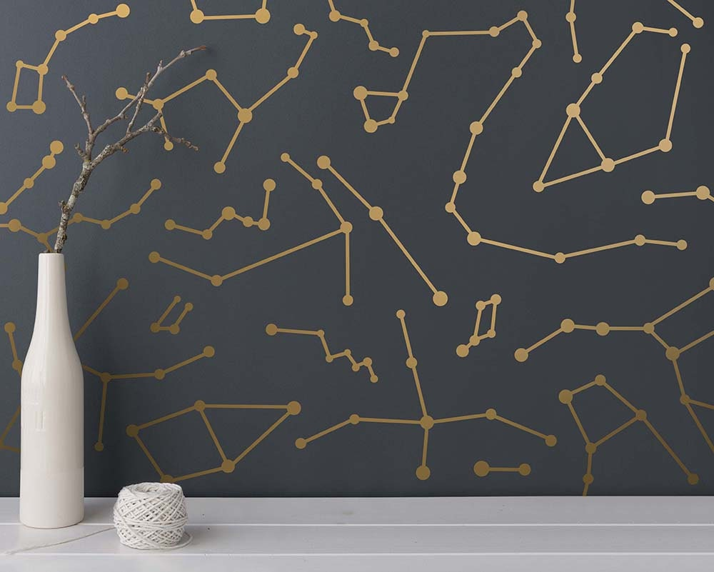 Gold Star Wall Decor: Constellation Wall Decals Star Decals Modern Wall Decals