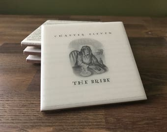 Harry Potter Coasters / Harry Potter Upcycles Book Pages / Deathly Hallows / Ch. 11 The Bribe / Hostess Gifts