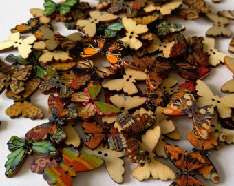 6 Wooden Butterfly Buttons - #BF-00058