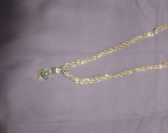 Gold and Jade charm necklace