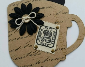 Vintage Tea Cup Card with Tag