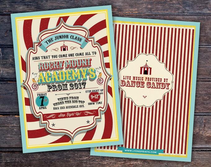 CIRCUS party prom Invitation- Carnival invitation-prom invitation- graduation party invitation-school dance invitation, prom invitation