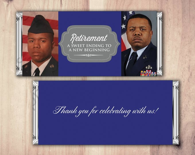 Military Retirement Candy Bar Wrapper, Digital File,Candy Bar, retirement party, party favor, thank you,Army, Navy, Marines, Soldier