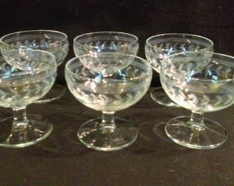 Hand Etched Sherbet Glasses, Champagne Coups, Vintage Sherbet Glasses, Stemware Set of 6  (1258)