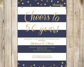 NAVY 50TH WEDDING ANNIVERSARY Invitation, Navy Blue Stripes Marriage Anniversary Invite, Cheers to 50 years, Vow Renewal, Printable Digital
