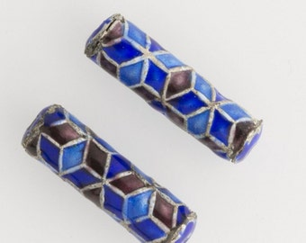 Blue and red enamel cylinder bead. 20x6mm. Package of 2. b2-625(e)