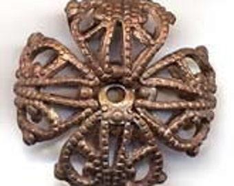 Vintage brass filigree beads. 19mm. Pkg of 1. b18-0136(e)