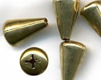 Vintage brass teardrop bead. 11x8mm. Pkg of 6. b18-0177(e)