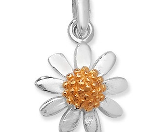 Sterling Silver Gold Plated Daisy Flower Pendant Necklace