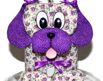 Tissue Box Cover Puppy Dog Handmade Fabric Tissue Box Cover Grape Flowers Purple Ears Nose-Ivory Lace- White Dog Tag-Tissue Dispenser D11