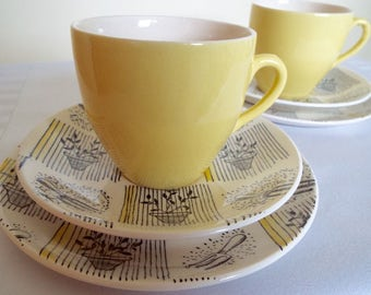 Vintage Yellow Tea Cup and Saucer with Gardening Images. Retro Yellow Teacup Trio and Cake Plate. Perfect as a Gardener Gift or for Tea Time