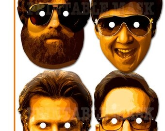 Unique The Hangover Heroes Printable Masks, costumes, party decoration, birthday, photo props, celebrity, TV Star, Halloween mask, comedy