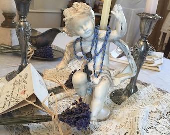 Shabby Vintage/Antique Cherub/Child Statue/Candle Holder