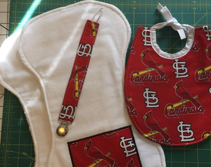 Baby Bib Gift Set St. Louis Cardinals Inspired Fabric Bib, Burp Cloths & Pacifier Clip