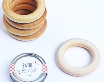 """2.5"""" Natural Maple Wood Ring - Organic Wood Teether - Wood Teething Ring for Baby - Wholesale Wood Ring - Bulk Wood Ring"""