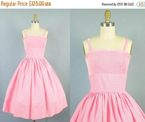 SALE 15% STOREWIDE 1950s gingham cotton sundress/ 50s velvet strap pink dress/ L'aiglon/ small