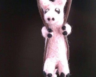 Pig Necklace - needle felted cute animal jewelry.