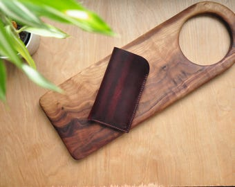 Peronsalised Simple Horween Leather Phone Case / Iphone Pouch / Mobile Sleeve in Maroon