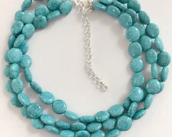 Turquoise Round Stones Necklace Layers  Stones Necklace Beaded Beads Statement Necklace