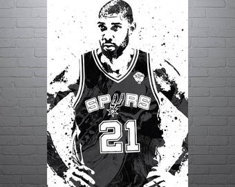 Tim Duncan San Antonio Spurs, Sports Art Print, Basketball Poster, Kids Decor, Watercolor Abstract Drawing Print, Modern Art, Man Cave