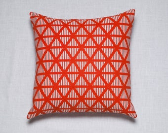 Red Square Pillow / Living Room Cushion / Red Pattern / Pillow Cover / Decorative Pillow  / Geometric Print Cushion / Screen Printed