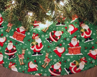 Christmas Tree Skirt- Santa Claus-Chimney-Rudolph-Reindeer-Green-Red-Holiday Decoration-Tree Skirt-Snowflakes