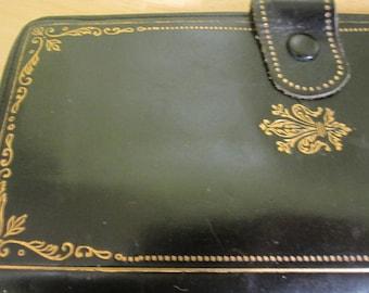 Vintage Green Leather Wallet Gold Trim Bi-Fold