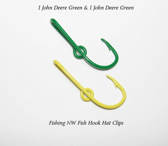 1 yellow and 1 green colored fish hook hat clips by for Fishing hook hat clip