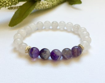 Amethyst Snow Quartz and Silver Beaded Bracelet, Healing Crystals, Positive Energy, Gifts for her