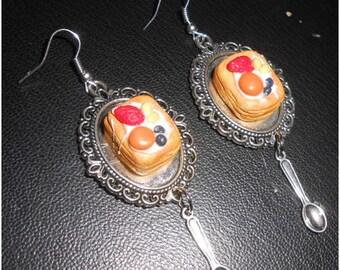 Ready to ship: handmade fruit tart earrings with little spoon
