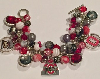 Ohio State Winter Hat Charm Bracelet with various Gray, Scarlet and Black beads