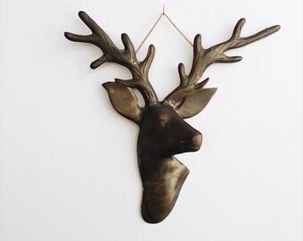 Vintage Brass Deer Wall Hanging