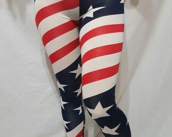 MEDIUM - Patriotic American Flag USA Legging