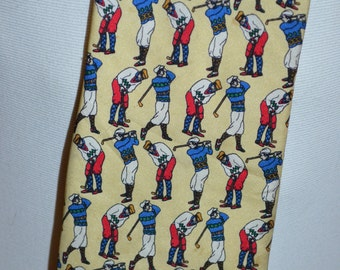 Vintage Yellow Golfing Full Length Necktie by 417 Van Heussen