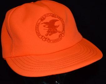 Retro Orange NRA of America Snapback Baseball Cap Hat (One Size Fits All)