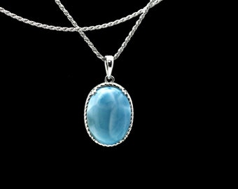 Larimar Natural 16X12mm Oval Vintage Style Necklace .925 Sterling Silver