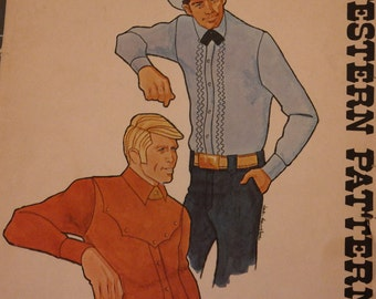 Vintage Authentic Western Sewing Pattern Complete - Men's Western Tuxedo Rodeo Shirt UNCUT Factory Fold-Prom -Wedding