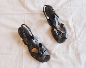 SALE // Vintage Leather Slingback Sandals // Size 7.5 // women's, black, heel, short heel