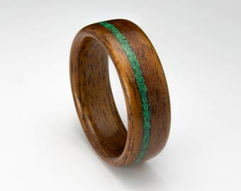 Bentwood Ring Handcrafted In Mahogany wood with  Malachite Inlay //Wooden Jewelry//wood ring for men or women