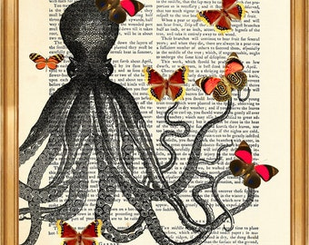 Octopus With Butterflies  DICTIONARY ART PRINT on Vintage Dictionary Page 8'' x 10'' from recycled encyclopedia