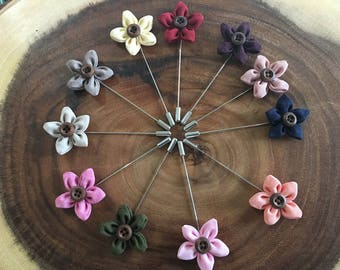 Cute flower lapel pins with button