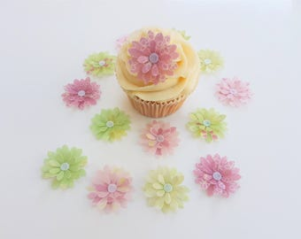 14 Edible Bella Collection 3D Wafer Flowers Cupcake Toppers Precut