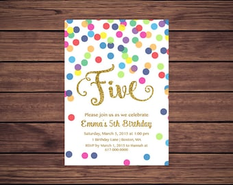Rainbow Gold 5th Birthday Invitation Girl, Any Age Rainbow Dots and Gold Girl Fifth Birthday Invitation, Polka Dot Printable JPEG 852