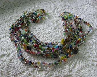 L-  Glass Mardi Gras beads from New Orleans-Carnival --Parade--lot of six