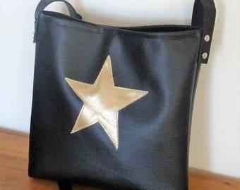 lined Messenger bag shoulder bag black faux leather and gold, Star