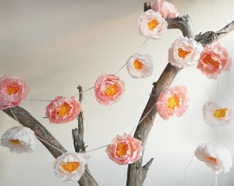paper peony garland, paper flower garland for weddings and party decoration