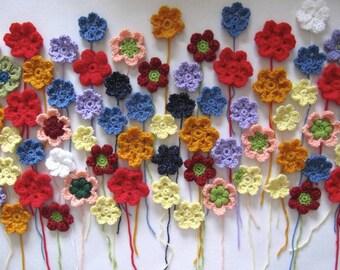 Flower Appliques, Crochet Flowers, Colourful Set, Crochet Appliques, Colourful Flowers, Set of 10